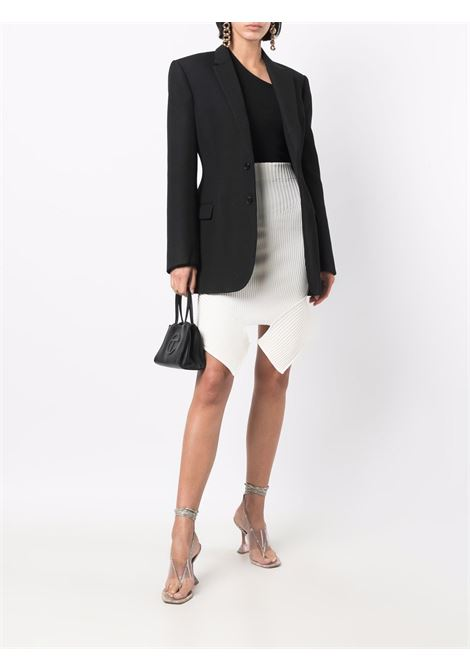 High-waisted cut out-detail mini skirt in ivory and white  - women  ADAMO | ADFW21SK060314740474000