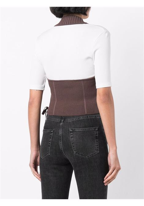 Cut-out ribbed-knit top in chocolate-brown - women  ADAMO | ADFW21TO080314770477003