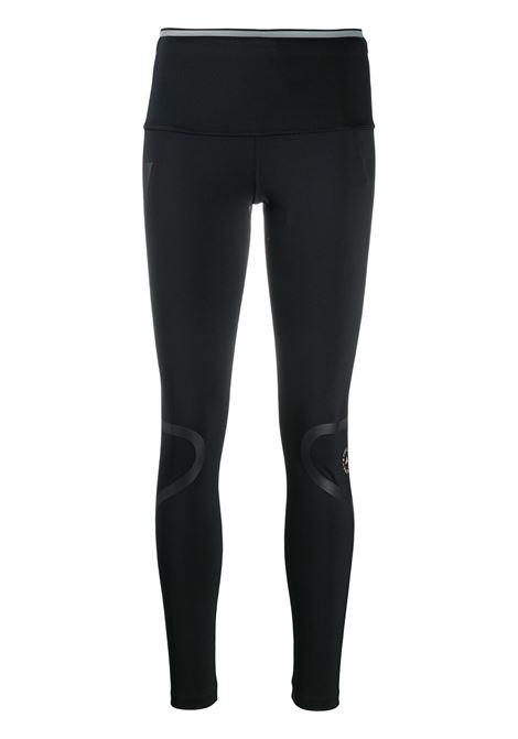 Stripe-detail logo-print leggings in black - women  ADIDAS BY STELLA MC CARTNEY | FU0286BLK