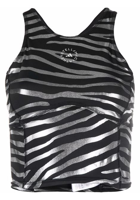 Black zebra-pint cropped top - womne  ADIDAS BY STELLA MC CARTNEY | GS2011BLKSLVR