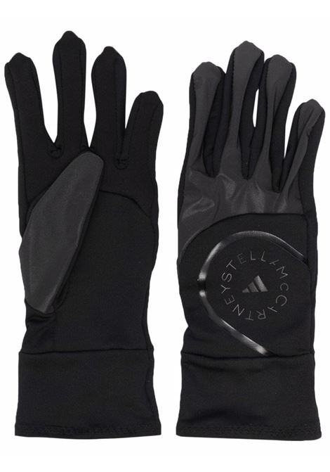 Black logo embroidered gloves - women  ADIDAS BY STELLA MC CARTNEY | GS2651BLK