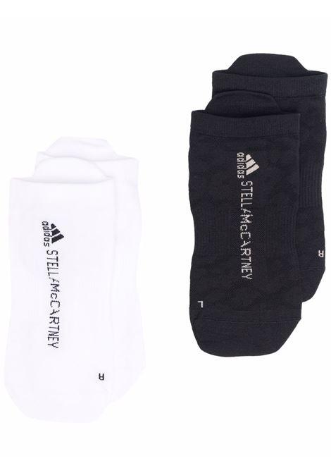 Logo-knit socks in black  and white - women  ADIDAS BY STELLA MC CARTNEY | GS2654BLKSFPWHT