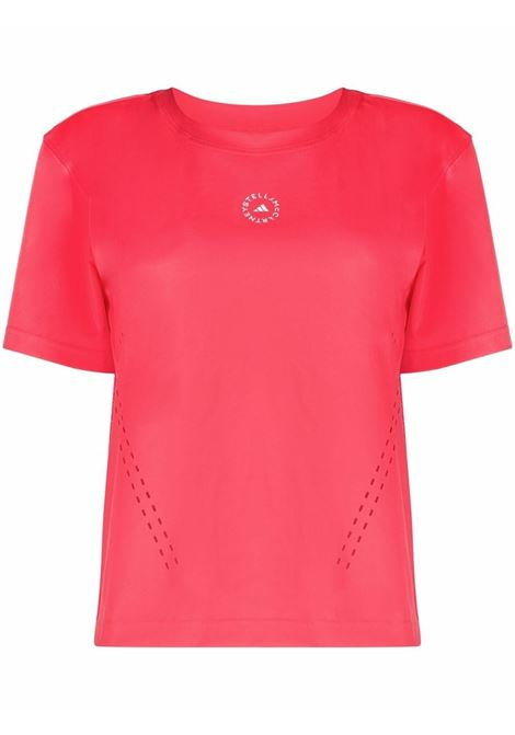Pink logo-print perforated-detail T-Shirt - women  ADIDAS BY STELLA MC CARTNEY | GT6868PNK