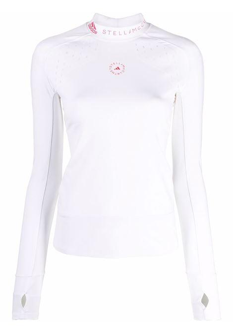 White logo-print jersey top - women  ADIDAS BY STELLA MC CARTNEY | GU1590WHTPNK