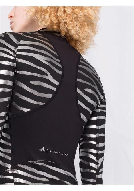 Black and silver zebra-print training top - women  ADIDAS BY STELLA MC CARTNEY | GU1604BLKSLVR