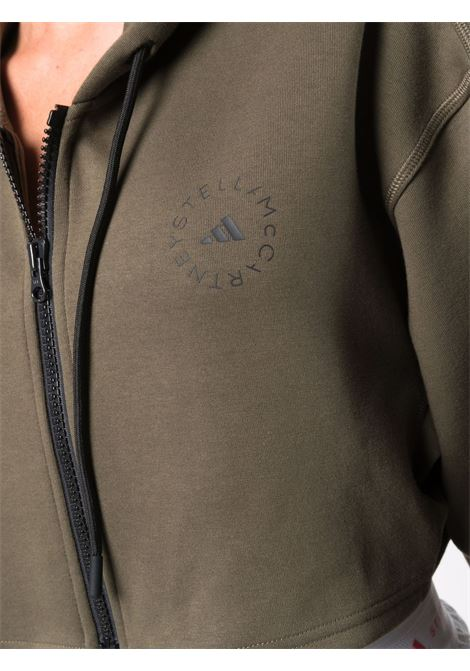 Khaki green cropped zip-fastening sweathsirt - women  ADIDAS BY STELLA MC CARTNEY | GU3821KHK