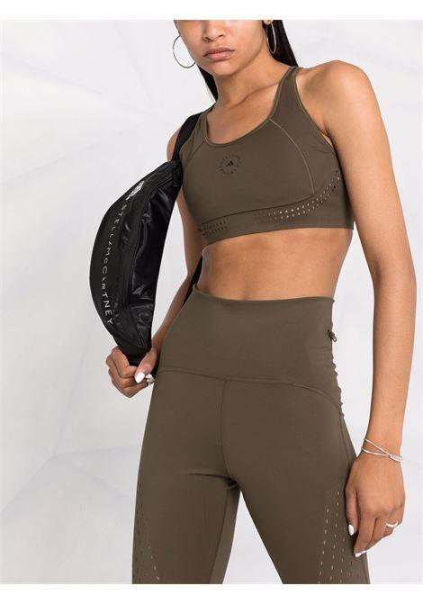 Khaki logo print sports bra - women  ADIDAS BY STELLA MC CARTNEY | GU9472KHK