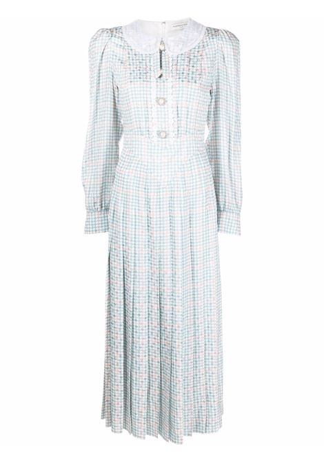 Houndstooth-check maxi dress in light blue and white - women  ALESSANDRA RICH | FAB2532F32971871