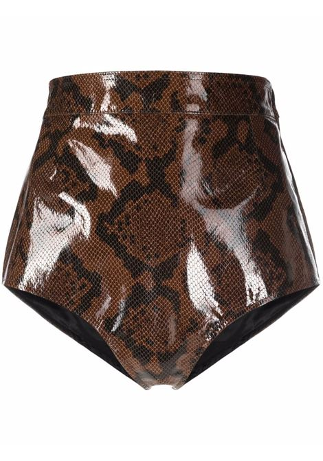 Snakeskin effect leather mini shorts in brown and black - women  ALESSANDRA RICH | FAB2540L33731659