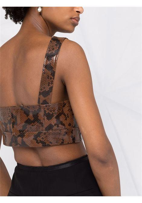 Snakeskin-print cropped top in brown - women  ALESSANDRA RICH | FAB2541L33731659