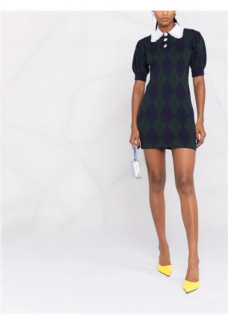 Argyle-knit mini dress in blue and green - women  ALESSANDRA RICH | FAB2590K3371300