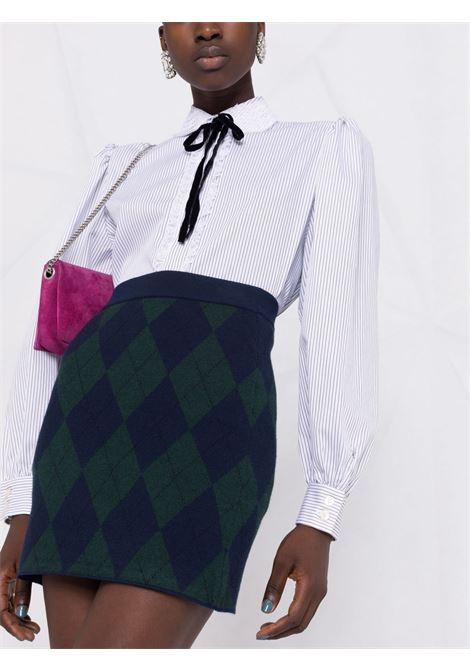 Argyle-knit mini skirt in blue and green - women  ALESSANDRA RICH | FAB2594K3371300