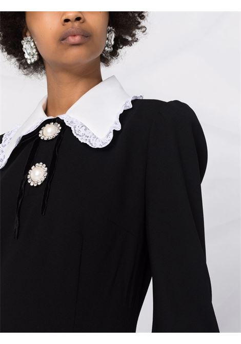 Lace collar long-sleeve mini dress in black and white- women  ALESSANDRA RICH | FAB2596F2335900