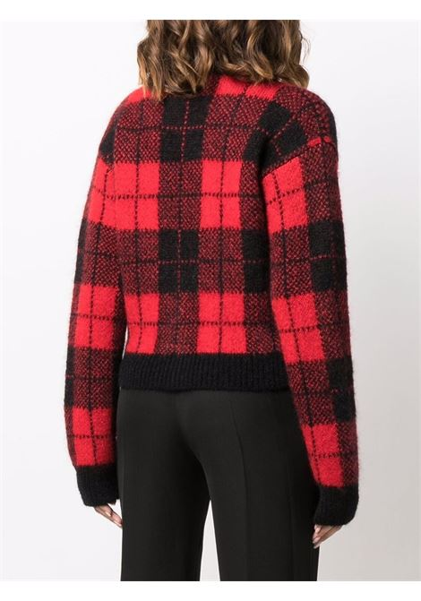 Check-knit cardigan in black and red - women ALESSANDRA RICH | FAB2624K336351246