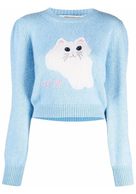 Cat intarsia knit jumper in light blue and white - women  ALESSANDRA RICH   FAB2625K33579010