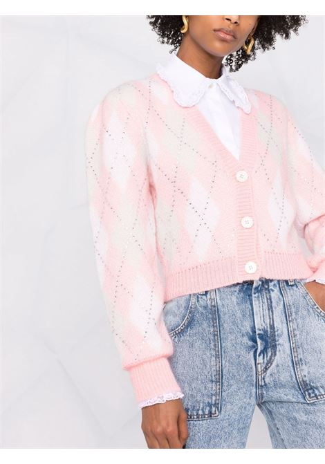 Crystal-embellished argyle cropped cardigan in pink - women  ALESSANDRA RICH | FAB2628K33619041