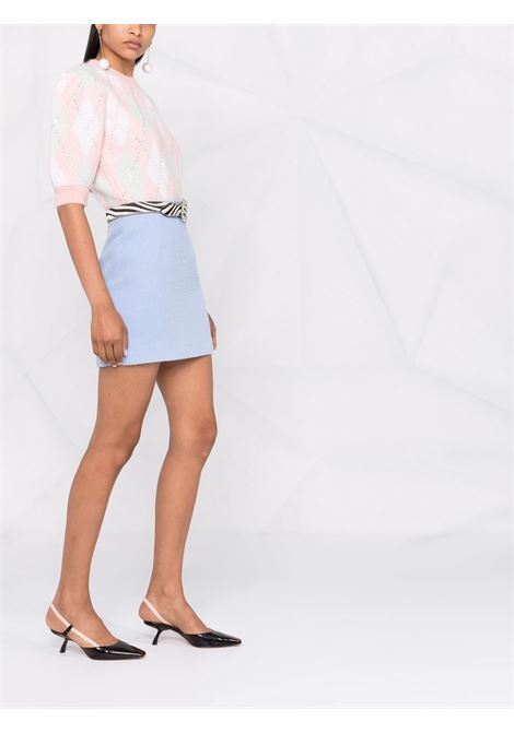 Crystal-embellished argyle cropped jumper in pink and multicolour - women  ALESSANDRA RICH | FAB2629K33619041