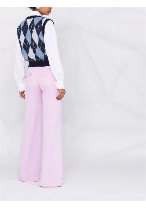 Cropped argyle knit vest in navy and multicolour - women  ALESSANDRA RICH   FAB2630K33619016