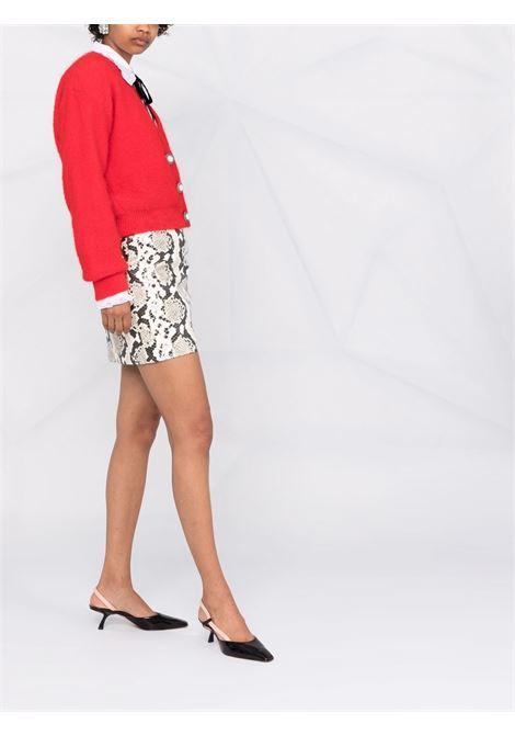 Faux-pearl button cardigan in red - women  ALESSANDRA RICH | FAB2632K235551246