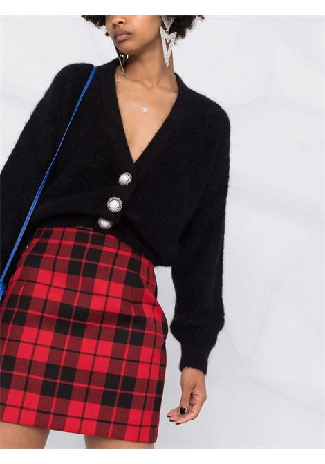 V-neck cropped cardigan in black - women  ALESSANDRA RICH | FAB2632K23559008