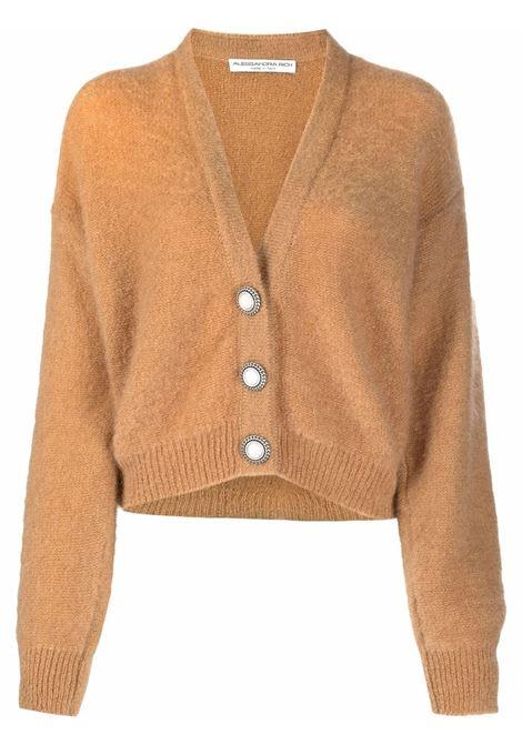 Fine knit cardigan in camel brown - women  ALESSANDRA RICH | FAB2632K23559036