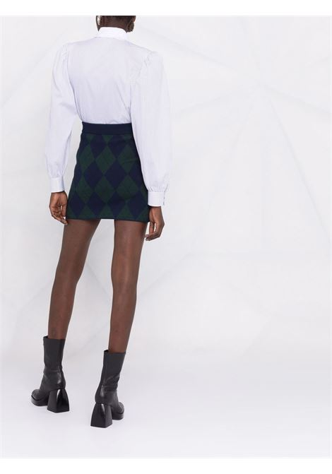 Striped Peter Pan collar shirt in white and black - women  ALESSANDRA RICH | FAB2643F3387822