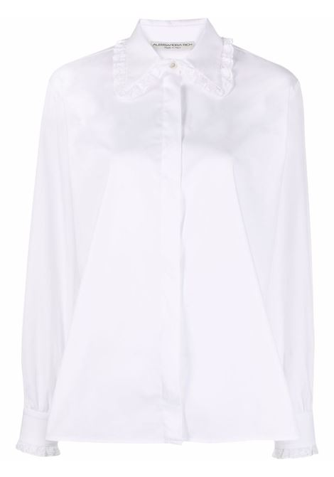 Lace-trimmed collar shirt in white - women  ALESSANDRA RICH | FAB2648F3198822