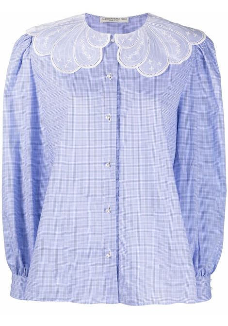 Check-print scalloped collar blouse in blue - women  ALESSANDRA RICH   FAB2658F33891874