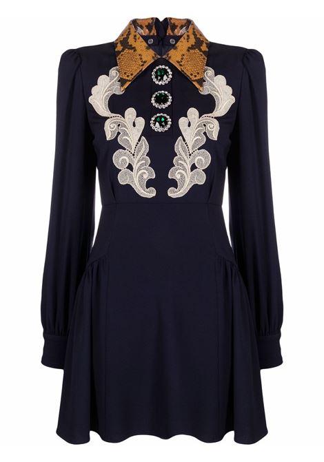 Contrasting collar mini dress in dark blue - women  ALESSANDRA RICH   FAB2670F23351944