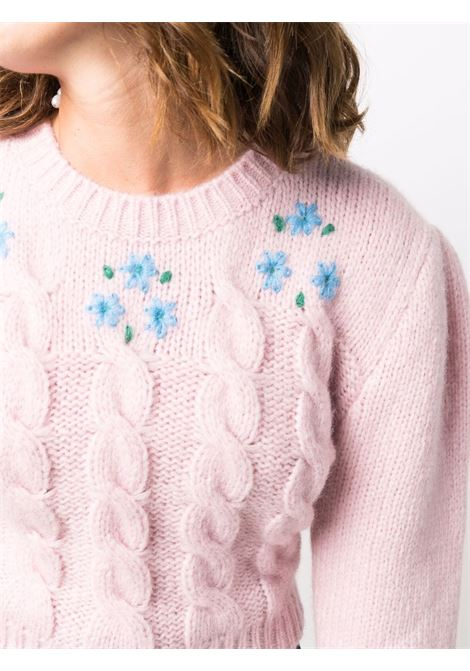 Cropped cable knit jumper in pink and blue - women  ALESSANDRA RICH | FAB2674K33651357