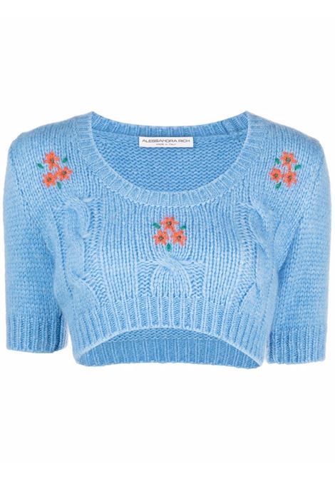 Cropped cable knit jumper in blue - women ALESSANDRA RICH | FAB2675K33651389