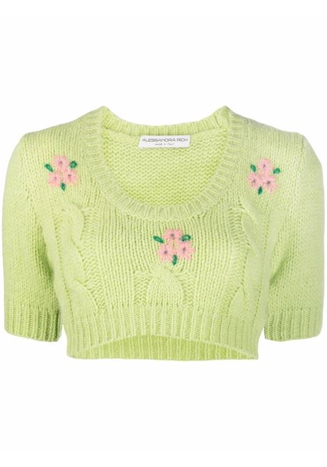 Cropped cable knit jumper in green - women ALESSANDRA RICH | FAB2675K33651579