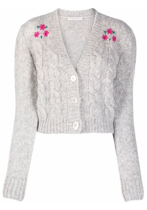 Floral embroidery cropped cardigan in light grey - women  ALESSANDRA RICH | FAB2676K33651310