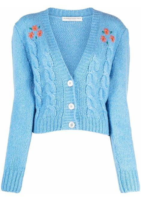 Floral embroidery cropped cardigan in sky-blue - women  ALESSANDRA RICH | FAB2676K33651389