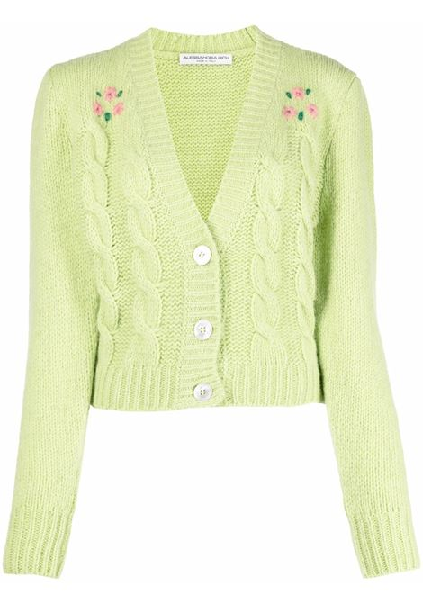 Floral embroidery cropped cardigan in lime green - women  ALESSANDRA RICH | FAB2676K33651579