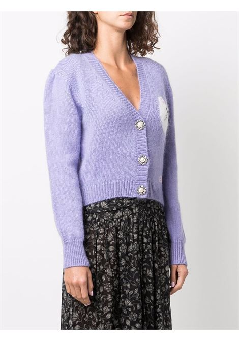 Embroidered button-up cardigan in lilac-purple - women  ALESSANDRA RICH   FAB2677K33919115