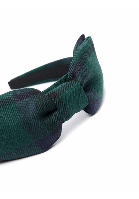 Check-print bow headband in green and blue - women  ALESSANDRA RICH | FABA2425F33131704