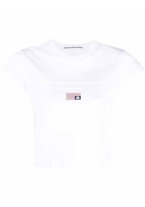 White flag print T-shirt - women  ALEXANDER WANG | 1CC3211495100