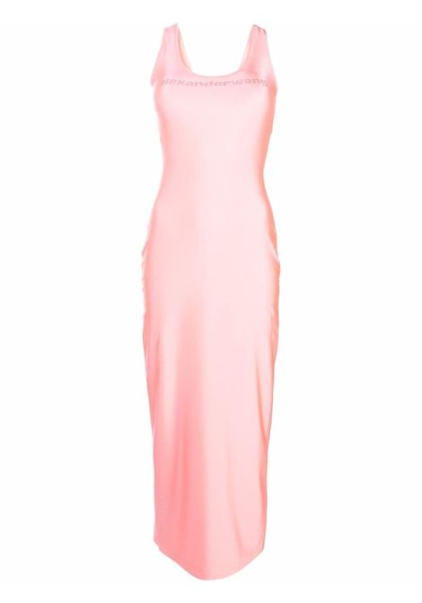 Pink logo-embellished lurex maxi dress - women ALEXANDER WANG | 1CC3216410674