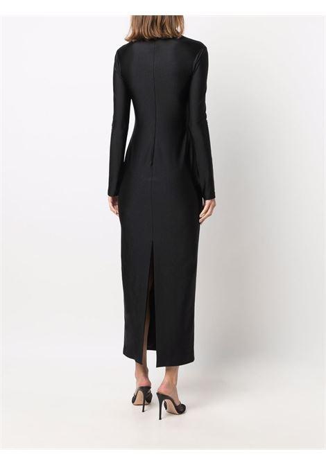 Black logo-embellished long-sleeve maxi dress - women  ALEXANDER WANG | 1CC3216414001