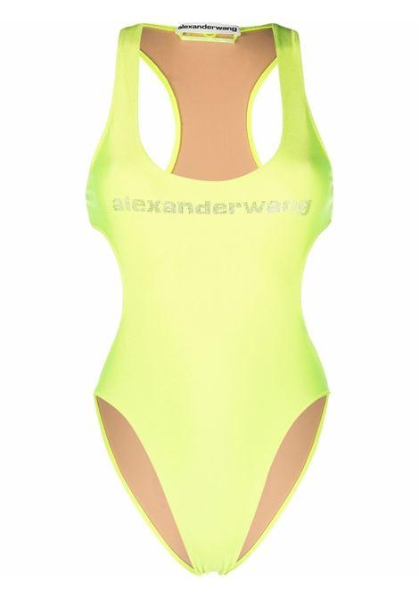 Neon yellow crystal embellished logo swimsuit - women  ALEXANDER WANG | 1CC3218066733