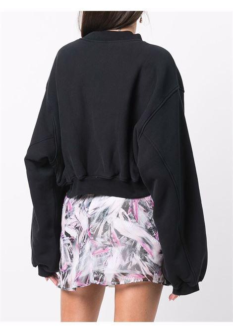 Black cropped V-neck sweatshirt - women  ALEXANDER WANG | 1CC4211507001