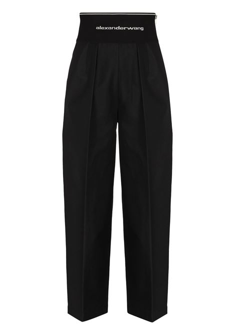 Logo waistband cropped trousers black - women ALEXANDER WANG | Trousers | 1WC2214357001