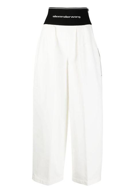Logo waistband cropped trousers white - women ALEXANDER WANG | Trousers | 1WC2214357110
