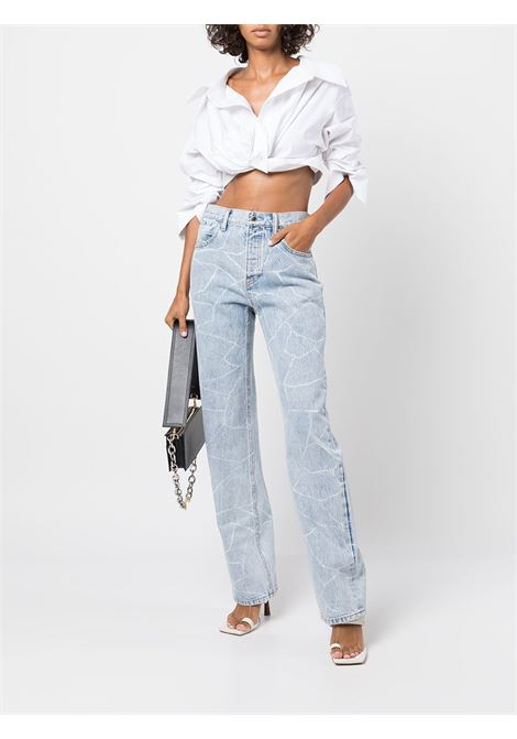 Camicia crop con ruches in bianco - donna ALEXANDER WANG | 1WC3211459100