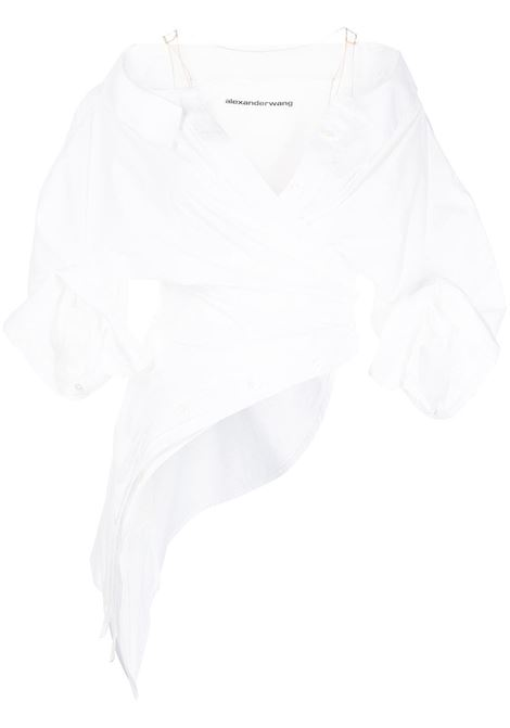 White off-shoulder ruched top - women  ALEXANDER WANG   1WC3211466100