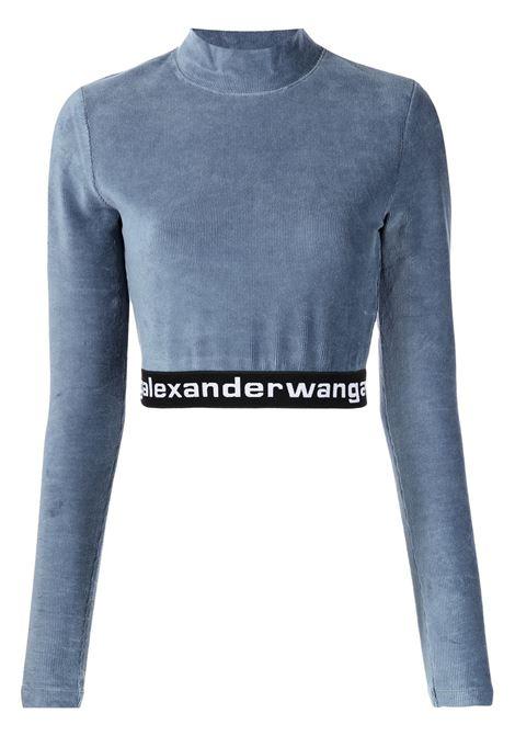 Top crop a coste in blu - donna ALEXANDER WANG | 4CC2201130469