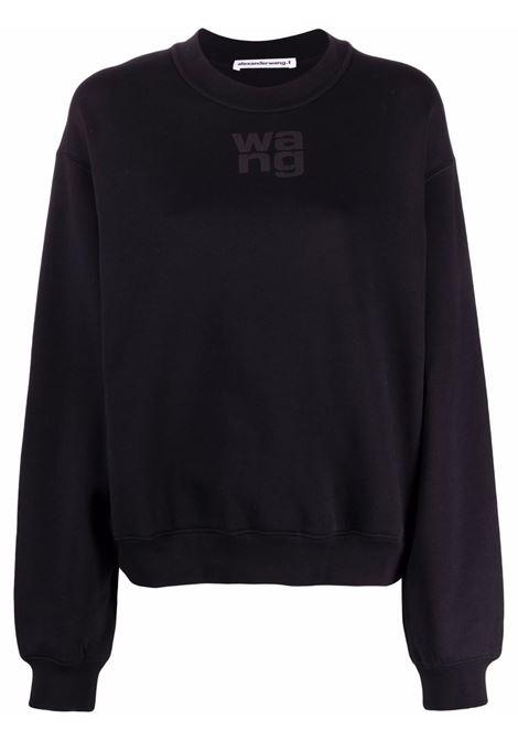 Logo-print crew neck sweatshirt in black - women  ALEXANDER WANG | 4CC3211285001