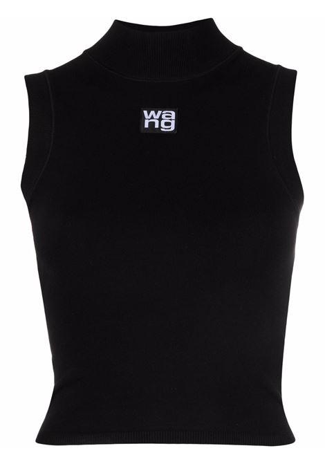 Black logo-patch knitted top - women ALEXANDER WANG | 4KC2211068001
