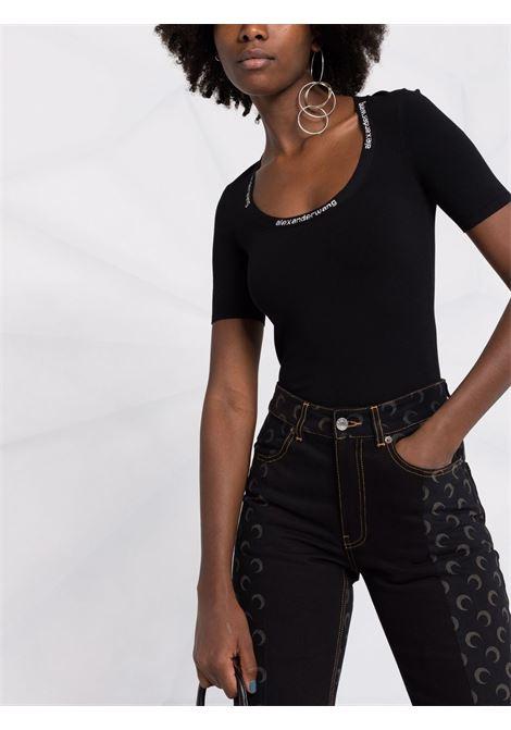 Black logo-trim scoop-neck T-shirt - women  ALEXANDER WANG | 4KC4211057001